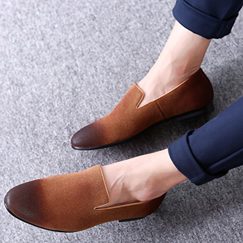 Santimon Mens Casual Loafers Pointed Toe Retro Dress Shoes Slip On by Black Blue Brown Grey Brown 4cLttRJ8D