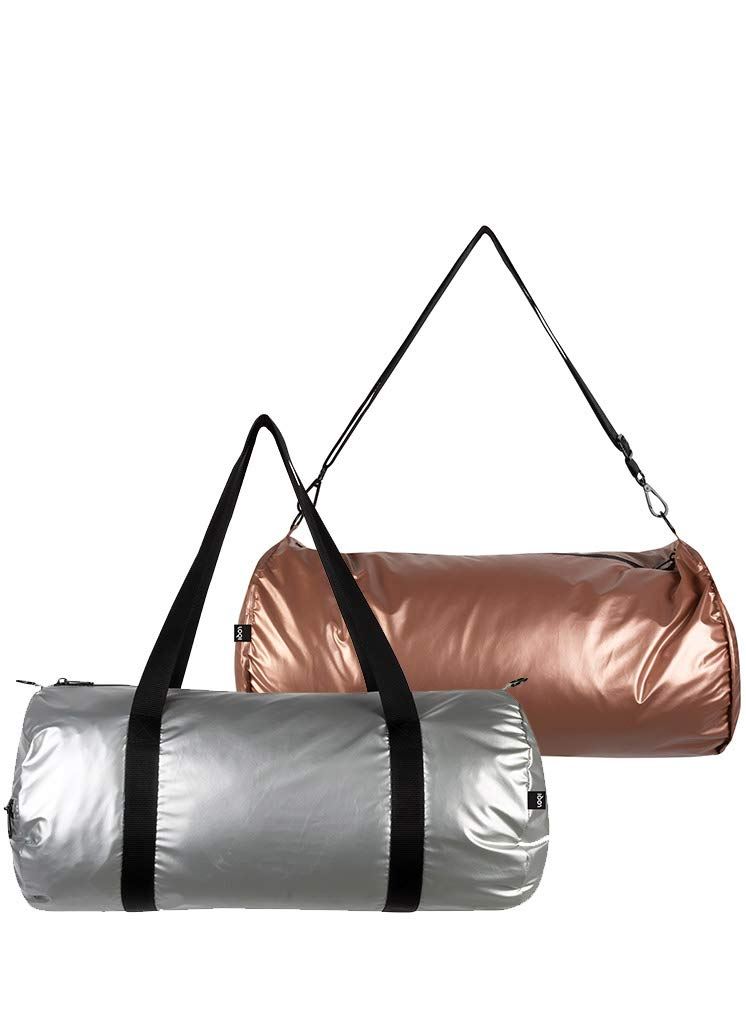 Silver /& Rose Gold LOQI Metallic Weekender Reversible Bag