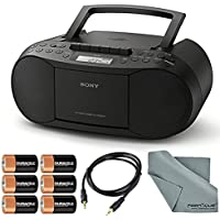 Sony CFD-S70 Portable CD Radio /Cassette Boombox + Aux Cable + 6 Duracell C Batteries + FiberTique Cleaning Cloth
