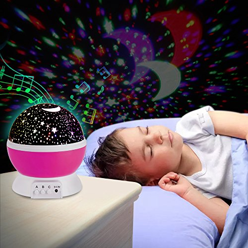 Baby Night Light with Built-in Mini Music Player for Living Room and Bedroom Rotating Cosmos Starlight Projector for Children Kids Baby Bedroom Christmas Light Projector Pink