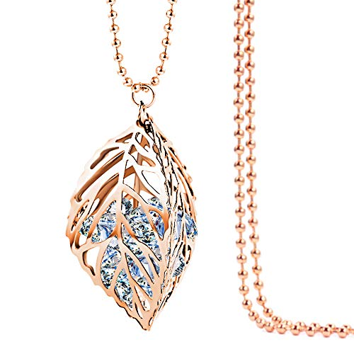 Jewelryland Rose Gold Plated 3D Cut Out Hollow Leaf with Simulate Diamond Cubic Zironia Pendant Long Necklace