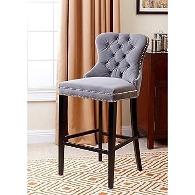 "Abbyson Blaise 30"" Tufted Upholstered Bar Stool in Gray"