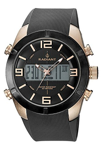 RA273602 Reloj Radiant Caballero, correa caucho color negro, caja ionizada, analógico-digital, sumergible 50 metros.: Amazon.es: Relojes