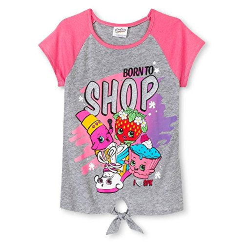 Shopkins Girls' Born to Shop graphic Glitter Tee Shirt (S 6/6X, Pink)