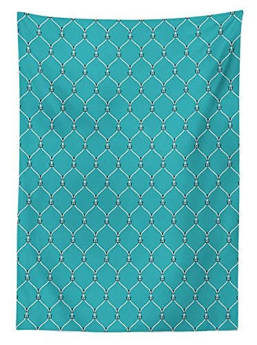 Nautical Decor Tablecloth Tied Navy Rope with Small Anchors Pattern in Axis Fishnet Mesh Knot Illustration Dining Room Kitchen Rectangular Table Cover Blue