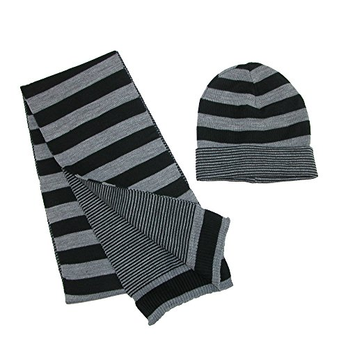 CTM Jersey Knit Striped Reversible Hat and Scarf Set, Dark (Knit Men Scarf)