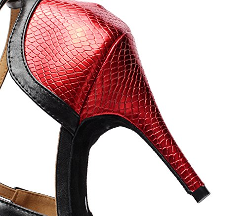 Red Samba Sandalias Altos para Modern Jazz Our42 UK7 Tea Shoes EU41 Tacones JSHOE Salsa 5cm heeled7 Tango Mujer tpwqgvtB7