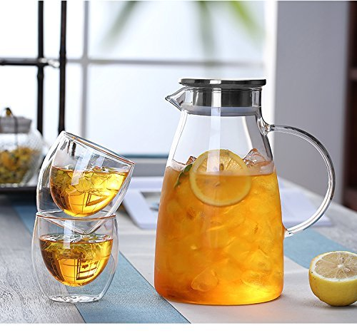 JIAQI 68 Ounces Glass Pitcher with Stainless Steel Lid, Hot/Cold Water Jug, Juice and Iced Tea Beverage Carafe by JIAQI (Image #9)