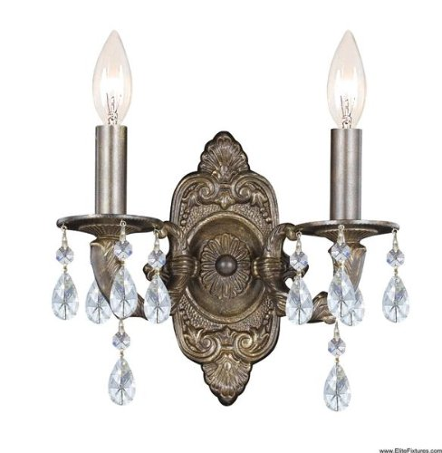 Crystorama Paris Market 5022 2 Light Wall Sconce - Venetian Bronze - Clear Swarovski Spectra (Paris Flea 2 Light Sconce)