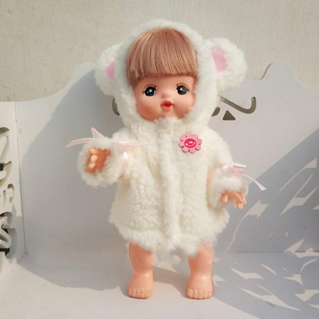 Prettyia Comfortable White Plush Clothes for Mellchan Baby Doll 9-11inch Girl Doll Cartoon Animal Ears Hat Jacket Coat