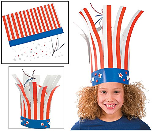 Patriotic Firecracker 4th Fourth of July Memorial Day Uncle Sam Hat Kids Craft Kit Makes 12 Party Hats