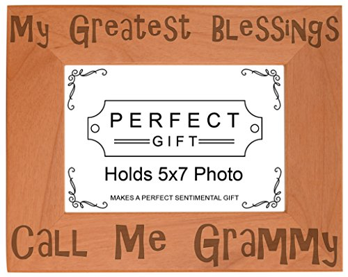 ThisWear Gift Grandma Blessings Call Me Grammy Natural Wood Engraved 5x7 Landscape Picture Frame Wood