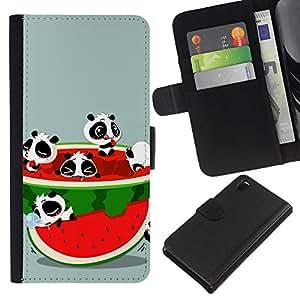 - PANDA BEAR WATERMELON CUTE RED FRESH FRUIT - - Prima caja de la PU billetera de cuero con ranuras para tarjetas, efectivo desmontable correa para l Funny House FOR Sony Xperia Z3 D6603