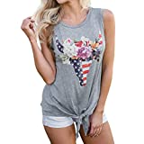 Leedford Tank Tops,Women Summer Printed Vest Top Blouse Casual Tank Top T-Shirt (M, Grey 2)
