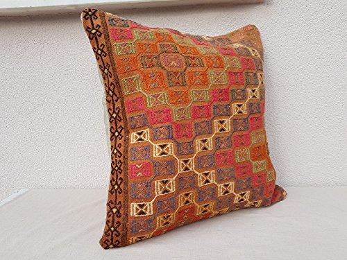 """Turkish Kilim Pillow Rug Vintage Cushion Cover Antique Pillows Sofa Art 24 X 24"""""""