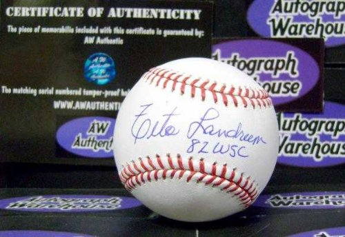 Tito Landrum Autographed Baseball Inscribed 82 Wsc  Omlb St Louis Cardinals World Series Champ  Aw Certificate Of Authenticity Hologram