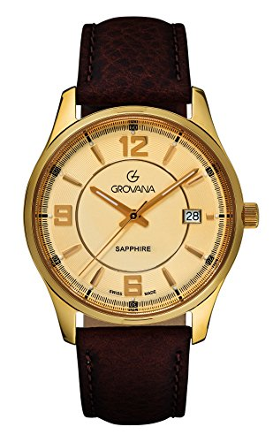 Grovana Men's 'Traditional' Swiss Quartz Stainless Steel and Leather Casual Watch, Color:Brown (Model: 1215-1511)