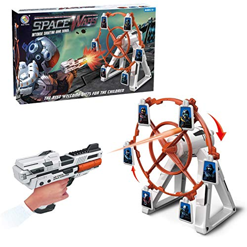 heytech Targets for Shooting Games Includes Electronic Rotating Target, 1 Blaster for Nerf and 12 Foam Darts-Compatible Toy Guns for Boys or Girls