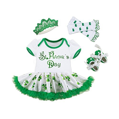 KINYBABY Baby Girl 4PCS ST. Patricks' Day Outfit Bodysuit Tutu Leg Warmer Headband Green-a L -