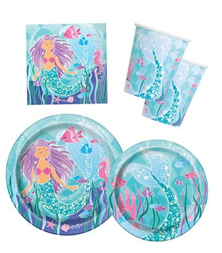 Mermaid Birthday Party Supplies Pack - Serves 16 - Plates, Napkins and (Mermaids Party Supplies)