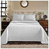 Superior 100% Cotton Medallion Bedspread with Sham, All-Season Premium Cotton Matelassé Jacquard Bedding, Quilted-Look Floral Medallion Pattern - Twin, White