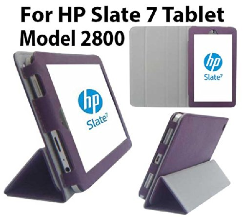 HappyZone PU Leather Case Cover with Build in Stand For HP Slate 7 INCH Tablet 2800 Model - Purple (Hp 7 Inch Slate Case)