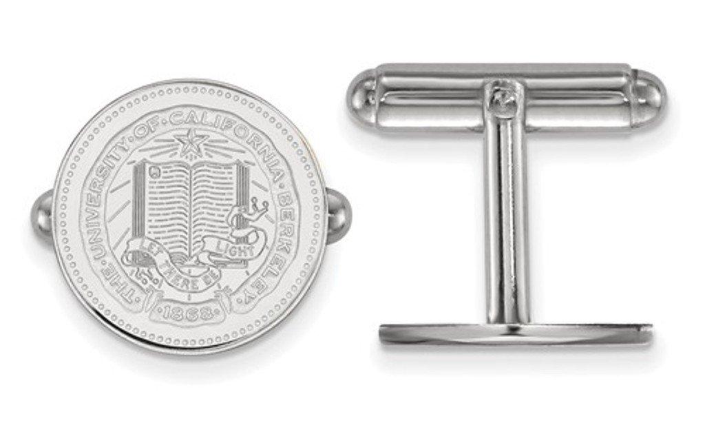 Rhodium-Plated Sterling Silver University of California Berkeley Crest Cuff Links, 16MM