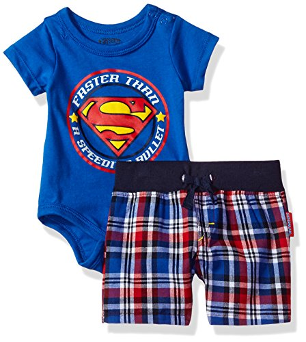 warner-brothers-baby-boys-2-piece-superman-creeper-and-plaid-short-set-blue-6-9m