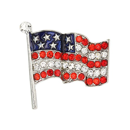 (SP Sophia Collection Patriotic Red, White and Blue Crystal Rhinestone Wave American Flag Post Brooch Pin)