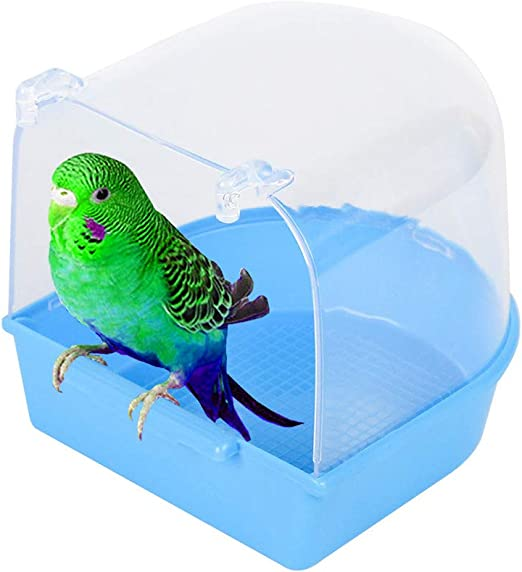Geegoods Bird Bath Box Parakeet Caged Bird Bathing Tub Blue with Water Injector for Small Birds Canary Budgies Parrot
