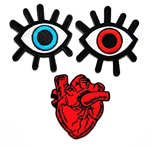 Nipitshop Patches Set of 3 Pcs Eye eyeball tattoo wicca occult goth punk retro Patch X-Ray Anatomical Heart Embroidered Badge Iron On Sew On Patch for Clothes Costume or Gift -