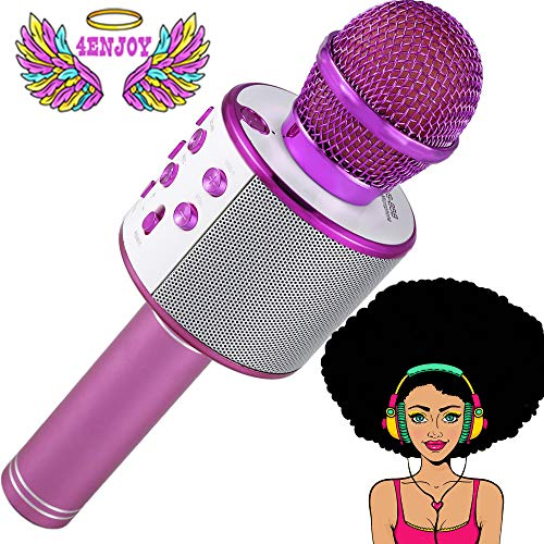 4Enjoy Wireless Bluetooth Karaoke Microphone for Kids Christmas Birthday Home Party for Android/iPhone/PC or All Smartphone All-in-One Karaoke Machine (Pink)