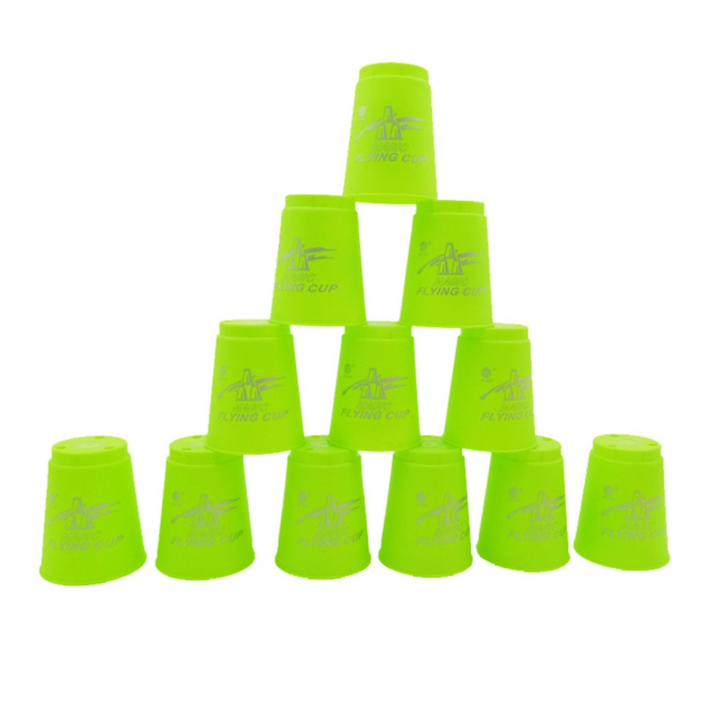 DKY Stacking Cup Set,Quick Stack Cups Set of 12 Sport Stacking Cups - Green