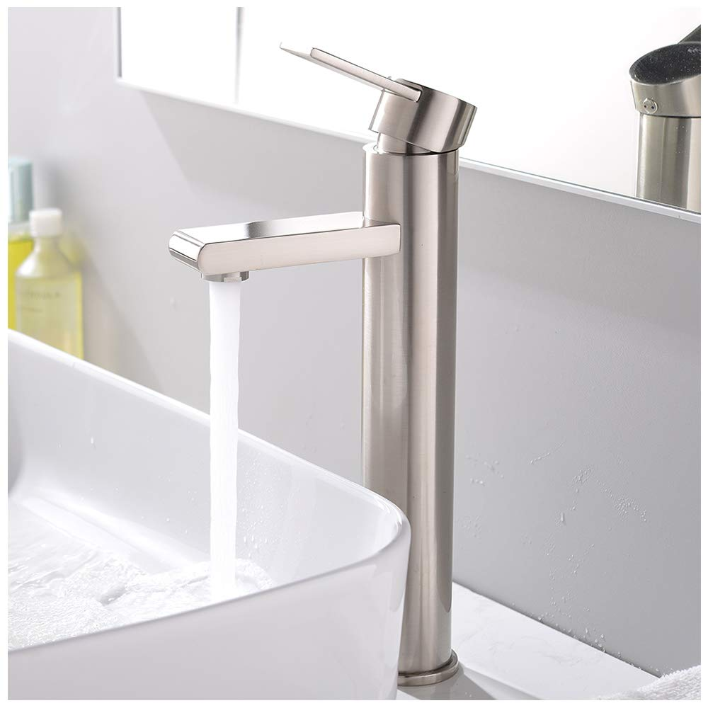 VCCUCINE Modern Commercial Brushed Nickel Tall Single Handle Bathroom Vessel Sink Faucet, Laundry Vanity Sink Faucets With Two 3/8'' Hoses by VCCUCINE