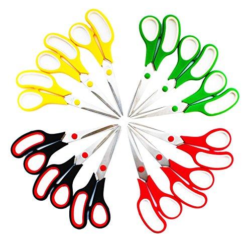 SKKSTATIONERY 8.5 Inch Scissors, Stainless Steel Sharp Blade, Comfort-Grip Handles, Pack of 12 by SKKSTATIONERY