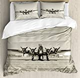 Airplane Decor Queen Size Duvet Cover Set by Ambesonne, World War II Era Heavy Bomber Front View Old Photo Flying history Takeoff Aeronautics, Decorative 3 Piece Bedding Set with 2 Pillow Shams