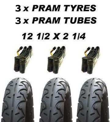 3x Pram Tyres & 3x Tubes 12 1/2 X 2 1/4 Slick Out 'n' About Nipper Motercare MY4 ASC