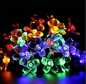 Juneslife Solar Powered String Lights LED 8 Modes Waterproof Peach Blossom Lanterns for Roads Courtyards Windows Shops Venues Stage and other Placesand and Christmas Decorations-RGB