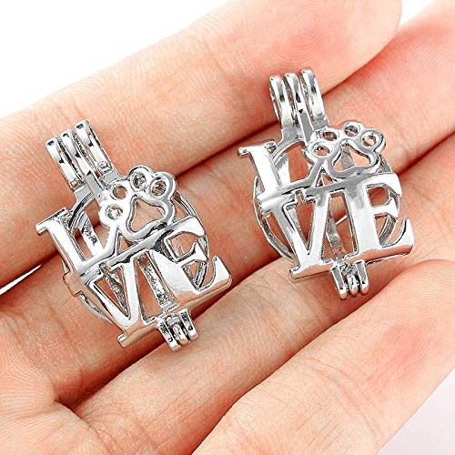 5pc Love Dog Paw Pearl Beads Cage Locket Silver Plated Open Pendant DIY Necklace