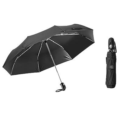Paraguas Plegable De Apertura Y Cierre Totalmente Automático Diseño Mejorado De Parabrisas Mango Antideslizante Portátil Negro