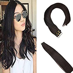 Sunny 20inch Tape in Hair Extensions Human Hair #2 Darkest Brown Hair Extensions Glue in Real Hair Grade 7A 20pcs 50g