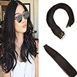 Sunny 16inch Tape Hair Extensions Human Hair Color #2 Darkest Brown Double Sided Tape Hair Extensions Remy Real Hair Extensions Tape in 20pc 50g Per Package
