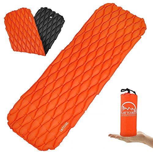 LATTCURE Inflatable Sleeping Pad Lightweight Compact Comfy Waterproof Air Camping Mat - Best Kit with Sleeping Bag Hammock Tent for Picnic Backpacking Travel Hiking Camping and Other Adventures