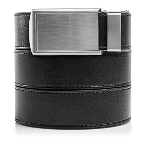(SlideBelts Men's Vegan Leather Belt without Holes - Silver Buckle/Black Leather (Trim-to-fit: Up to 48