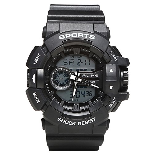 Men's Watches Man Digital Stopwatch Waterproof Sports Watches Electronic Quartz Water Resist 164FT (Lcd Resist)