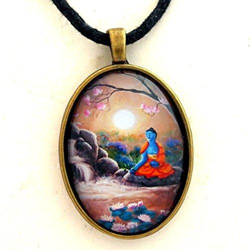 Tibetan Handmade Necklace - Medicine Buddha Lotus Pond Handmade Pendant Black Cord Necklace Unisex Tibetan Buddhist Gift Jewelry