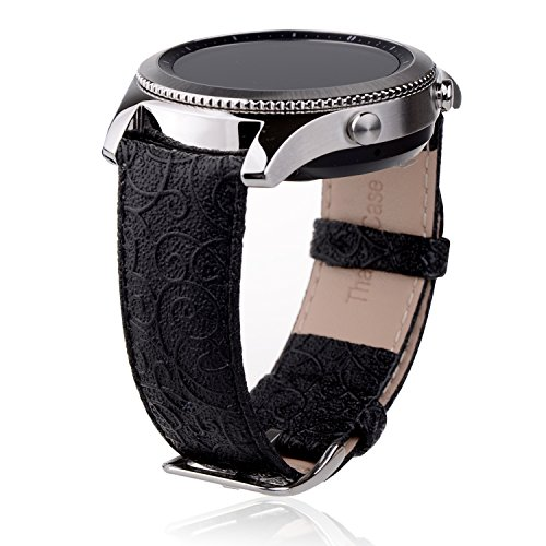Thankscase Band for Samsung Galaxy Watch 46mm, Samsung Gear S3 Classic/Frontier, Genuine Leather Wrist Strap Replacement with Embossed Pattern for Galaxy Watch 46mm and Gear S3 only (Diamond Black)