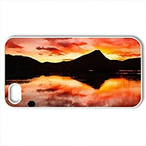Fire Of Fall - Case Cover for iPhone 4 and 4s (Lakes Series, Watercolor style, White)