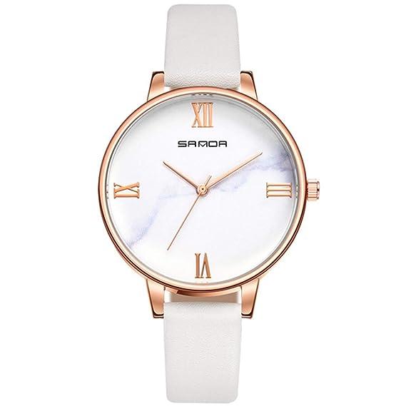 MODIWEN - Reloj de Pulsera para Mujer, Cuarzo, mármol, números Romanos, Marcas de Tiempo, Relojes analógicos: Amazon.es: Relojes