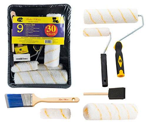 Bates Paint Roller  Paint Brush Paint Tray Roller Paint Brush 9 Piece Home Painting Supplies Foam Brush House Painting Tray Painting tools Roller and Paint Brushes Interior Paint Brushes